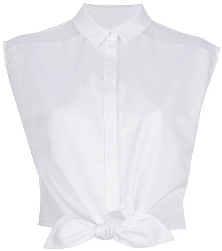Peridot London cropped bow detail blouse