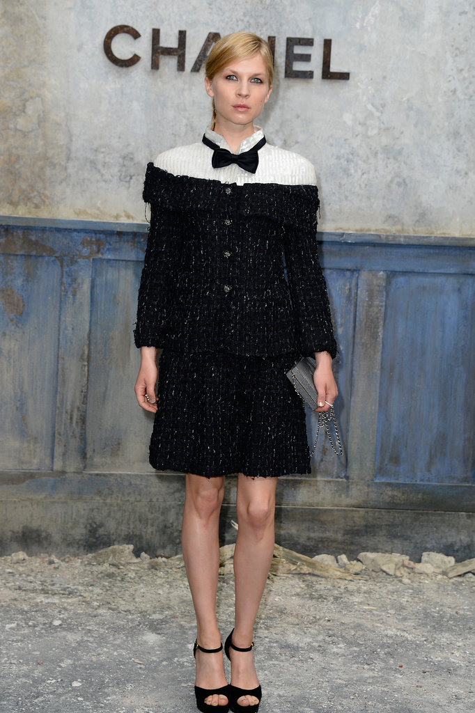 Clémence Poésy picked a black and white look, complete with bow tie, for the Chanel show.