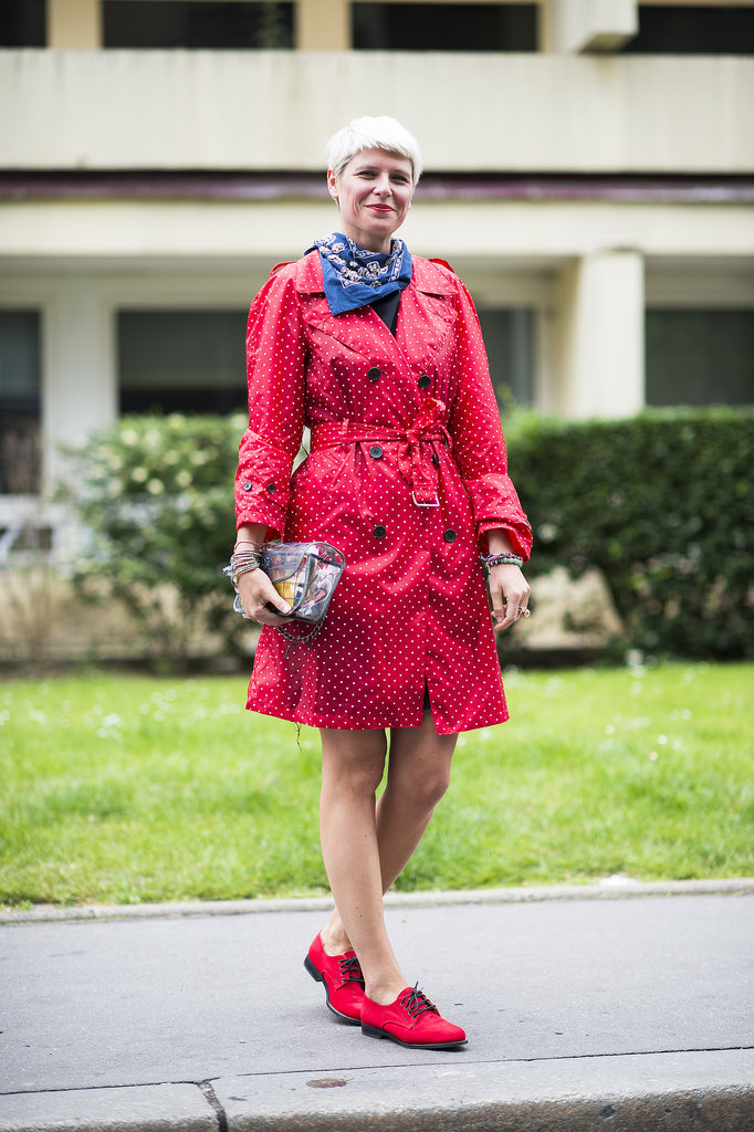 Don't fear the color effect — just look at how a bit of bright red livened up Elisa Nalin's classic trench and oxfords. Source: Le 21ème | Adam Katz Sinding