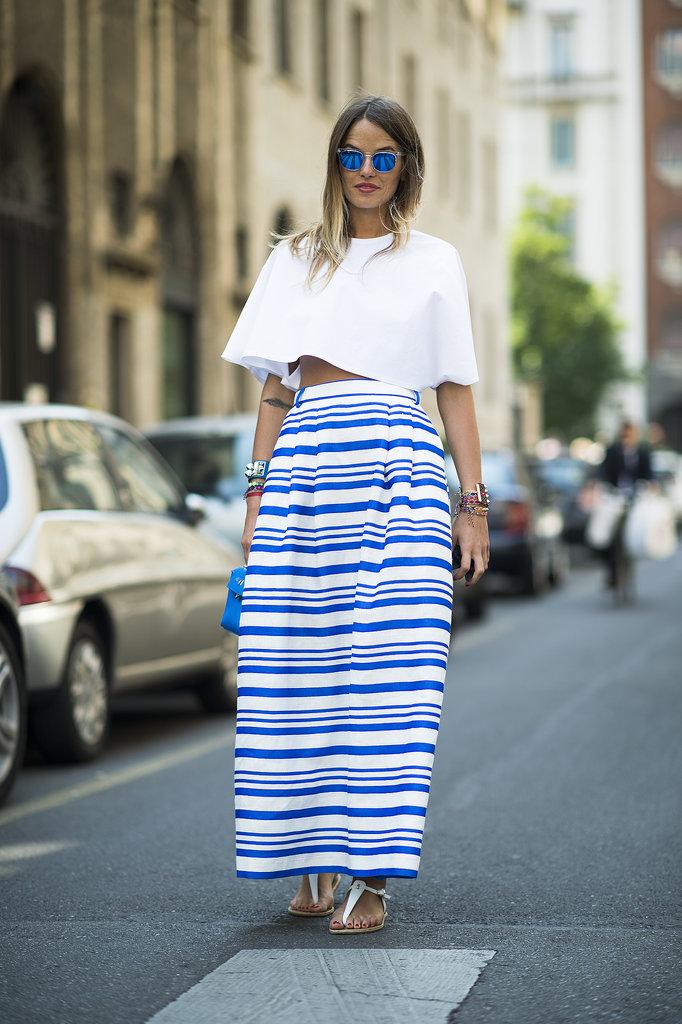 Say hello to Summer with a crop top and a striped skirt. Source: Le 21ème | Adam Katz Sinding