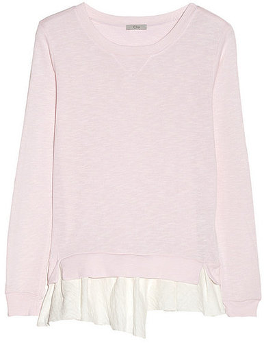 CLU Ruffled-hem terry sweater