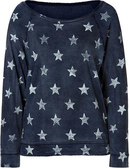 Current/Elliott Cotton Letterman Sweatshirt with Printed Stars in Worn Indigo