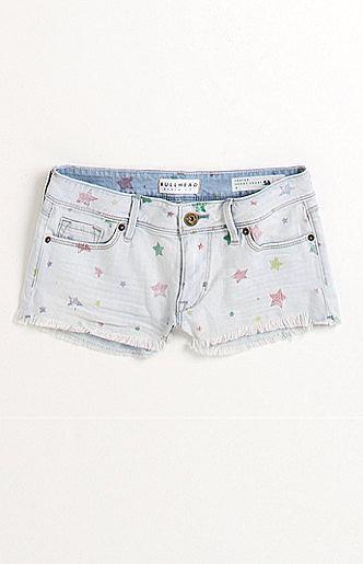 Bullhead Frey Hem Print Star Shorts