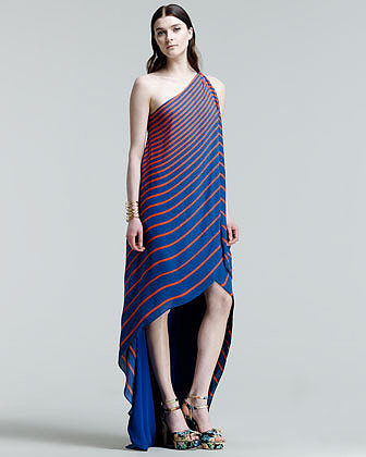 Halston Heritage Striped One-Shoulder High-Low Gown