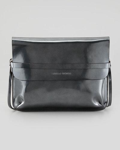 Brunello Cucinelli Spazzolato Crossbody Bag, Metallic Gray