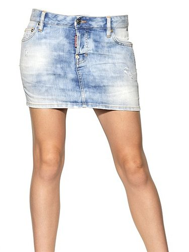 Dsquared - Washed Stretch Cotton Denim Skirt