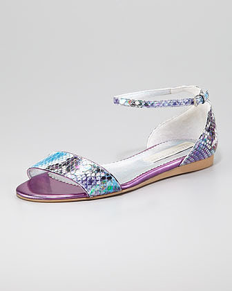 Stella McCartney Faux-Snake Flat Ankle-Wrap Sandal
