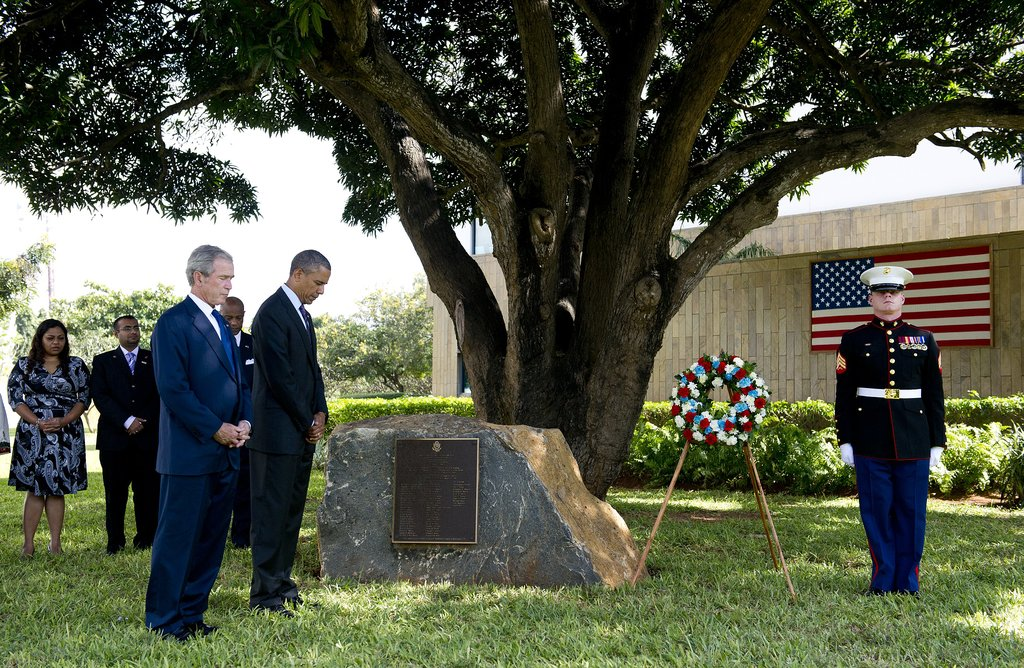 In July 2013, President Obama and former President Bush attended a wreath-laying ceremony to honor the victims of the 1998 US Embassy bombing in Tanzania.