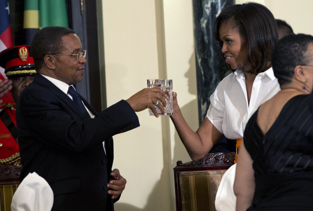 Michelle Obama toasted Tanzanian President Jakaya Kikwete during an official dinner in Dar es Salaam in July 2013.