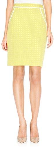 Polka Dot Jacquard Pencil Skirt