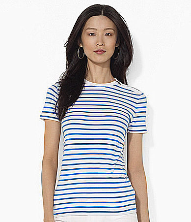 Lauren Ralph Lauren Zippered Striped Crewneck Tee