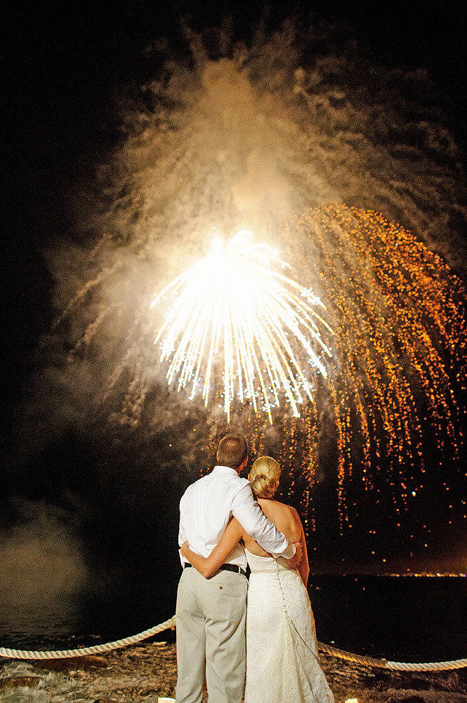 Fireworks lit up the Mexican skies for this couple's exotic nuptials. Photo by Michelle Turner Photography via Style Me Pretty