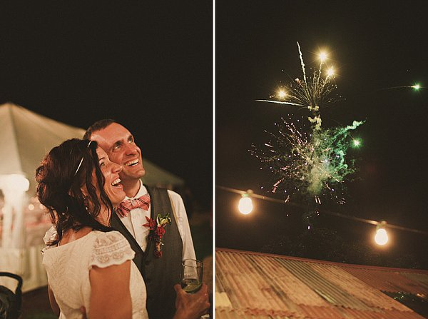 The bride and groom watched the fireworks at this sweet Byron Bay, Australia, wedding. Photos by Julian Beattie via Ruffled