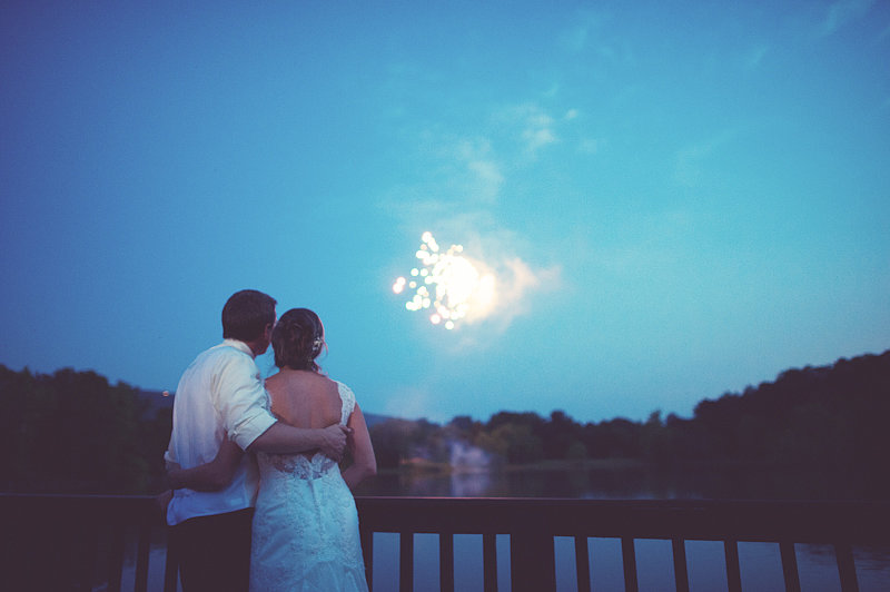 A soft, romantic glow burst in the sky at this wedding in Chattanooga, Tennessee. Photo by Paper Antler via Project Wedding
