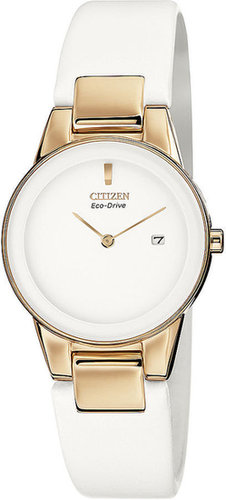 Citizen Watch, Women's Eco-Drive Axiom White Leather Strap 30mm GA1053-01A