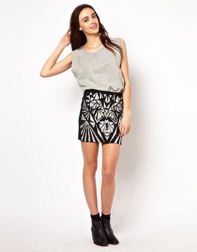Vero Moda Foil Print Mini Skirt