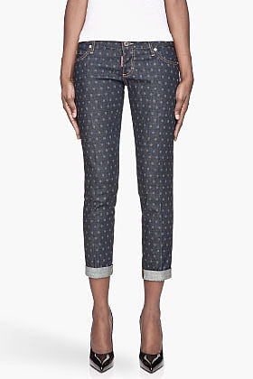 DSQUARED2 Navy blue polka dot Pat Jeans