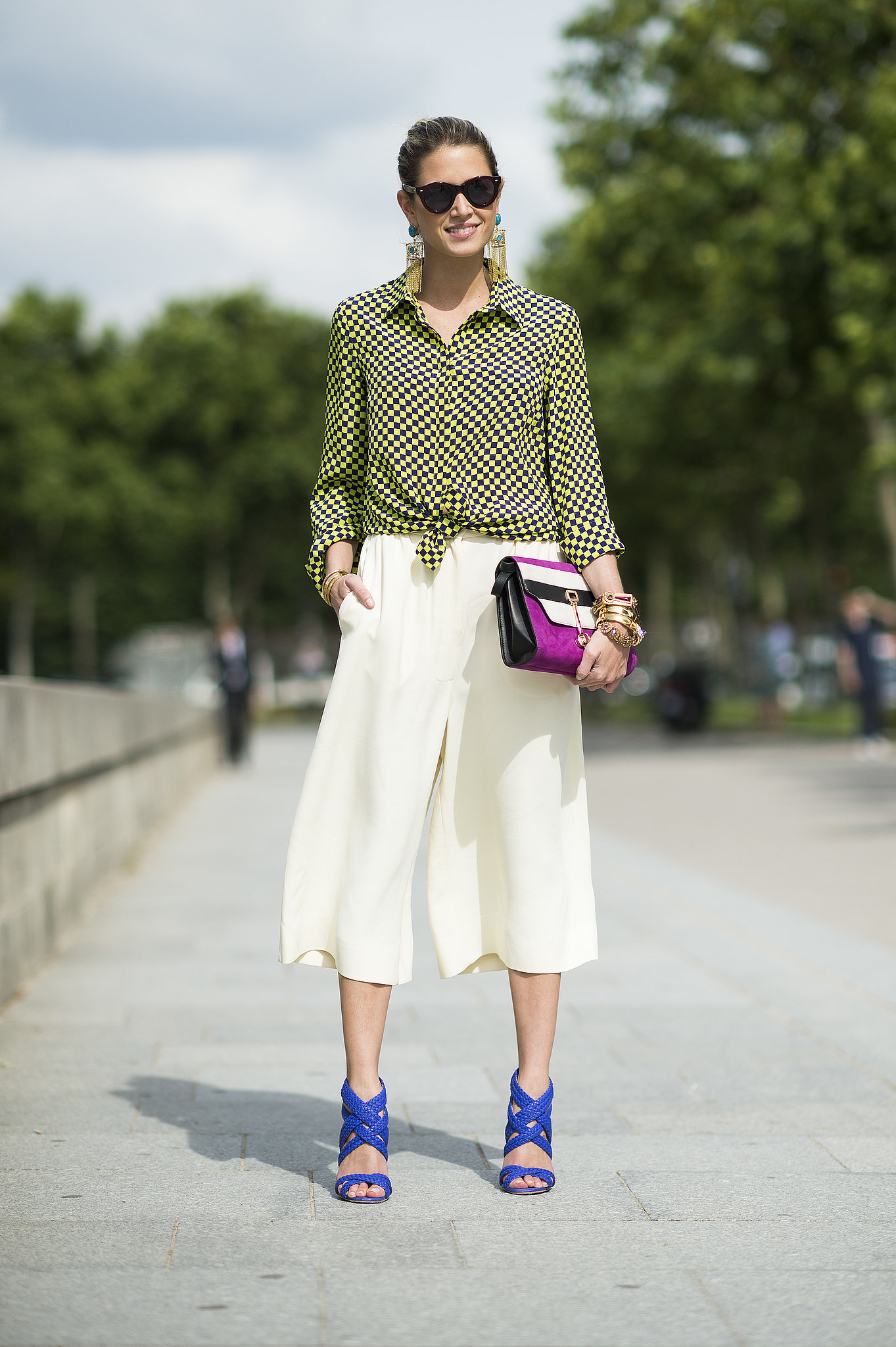 We can't get enough of her breezy culottes or hot heels. Source: Le 21ème | Adam Katz Sinding