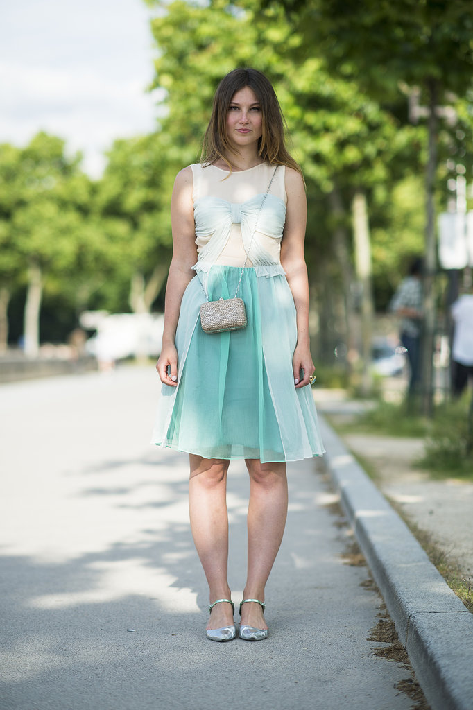 Sheer in the prettiest shade of green that plays off the colors in her footwear caught our eye in this look. Source: Le 21ème | Adam Katz Sinding