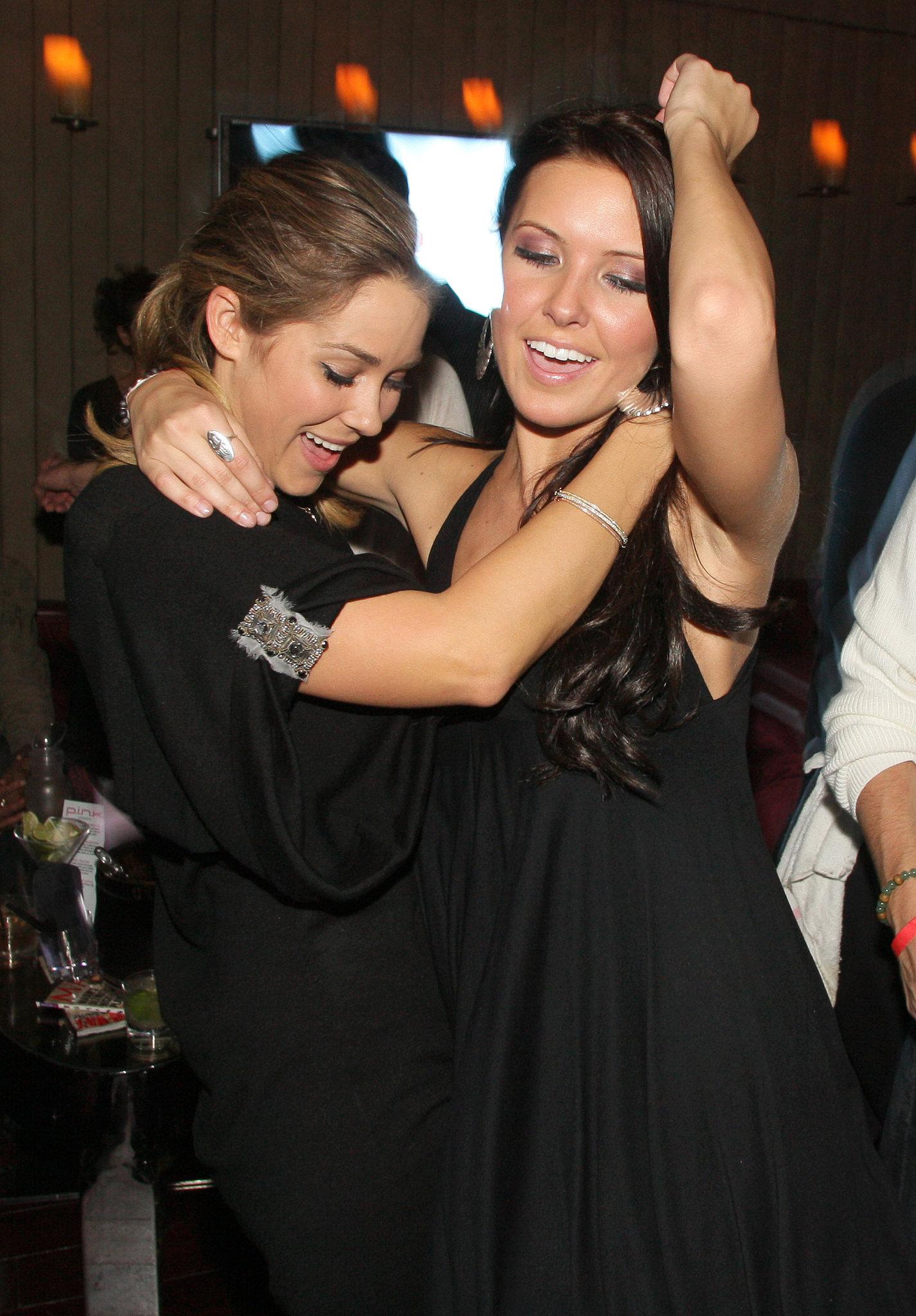 Lauren Conrad danced with Audrina Patridge at an LA bash in November 2007.
