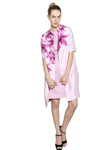Flower Print Silk Shantung Coat