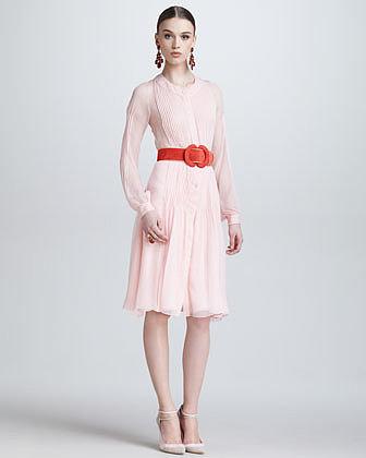Oscar de la Renta Silk Chiffon Tuxedo Shirtdress, Petal Pink