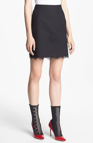 Miss Wu Lace Hem Twill Skirt (Nordstrom Exclusive)