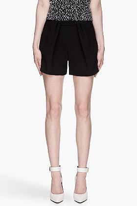 CHLOE Black Wool Crepe draping Shorts