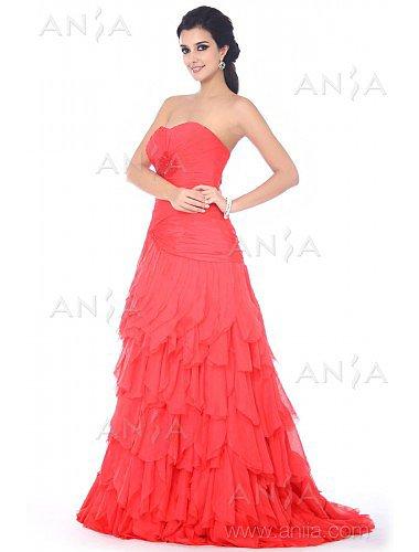 A Line Red Sweetheart Chiffon Prom Dress F12052