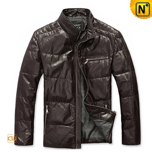 Warm Mens Leather Down Jacket CW831129 - cwmalls.com