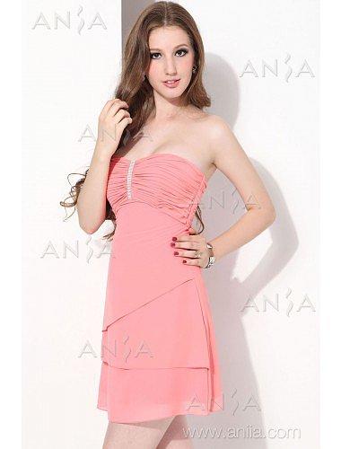 A Line Pink Strapless Chiffon Cocktail Dress E12002g5