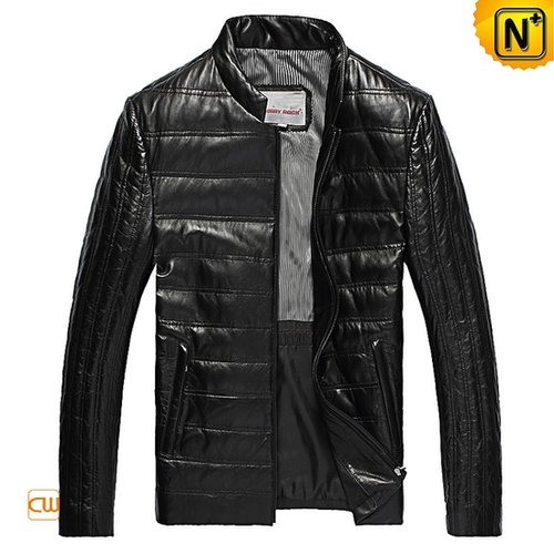 Mens Black Leather Down Jacket CW832076 - cwmalls.com