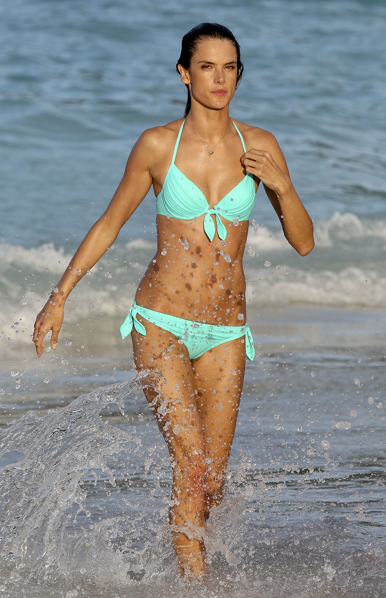 Alessandra Ambrosio splashed around in a bikini in St. Barts in January 2012.