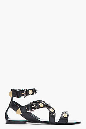 VERSACE Black leater Studded Flat Sandals