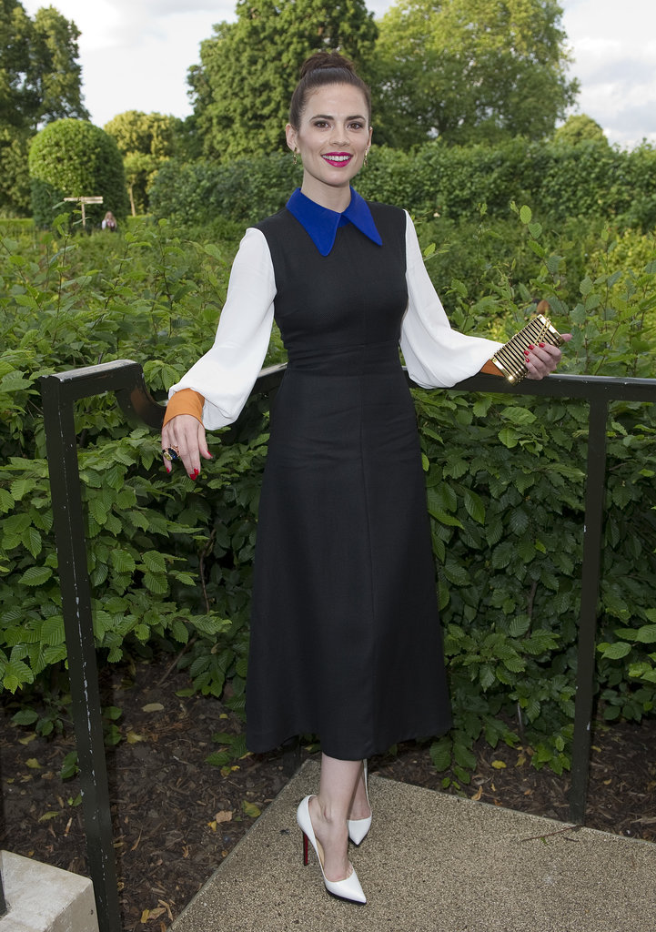 Hayley Atwell took in the palatial view at the launch of Fashion Rules in London.