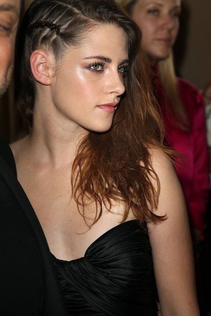 The side of Kristen's style showcased a tight braid, creating an edgy undercut style.