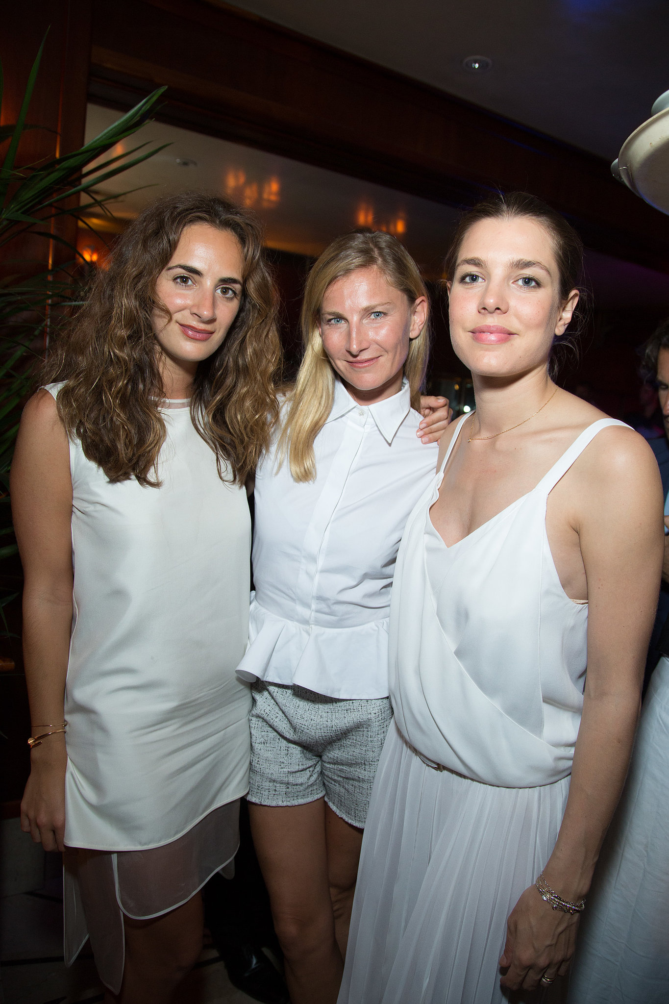 Elizabeth von Guttman and Charlotte Casiraghi joined a fellow partygoer in a crisp white palette at the launch of Eugenie Niarchos's jewelry collection.