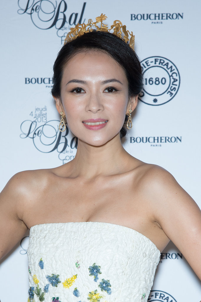 Zhang Ziyi was the belle of the ball at Le Grand Bal de la Comédie Francaise. She adorned her updo with a golden tiara and sustained the fairy-tale theme with flushed pink makeup.