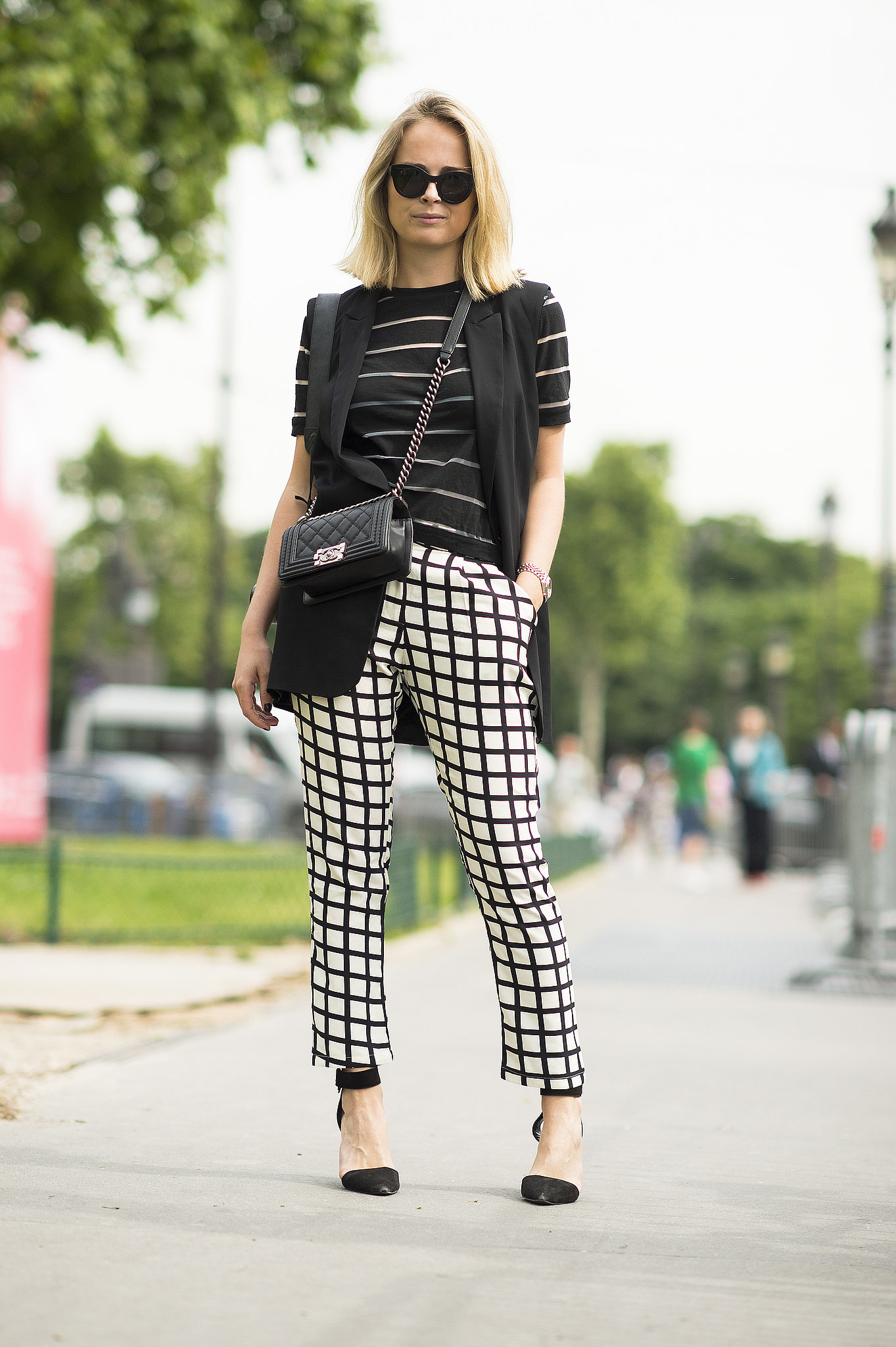 Let your pants be the statement piece, like this showgoer. Source: Le 21ème | Adam Katz Sinding