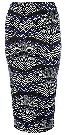 Blue and Black Spliced Aztec Midi Skirt