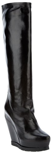 Cinzia Araia knee high leather wedge boots