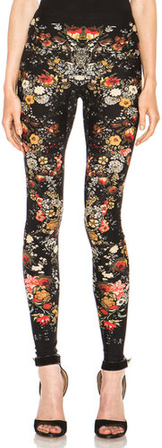 Alexander McQueen Engineered Flower Print Legging in Black & Multi