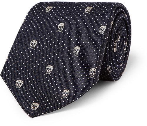 Alexander McQueen Skull-Embroidered Silk Tie