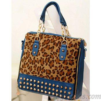 Sexy Leopard Print Sequins Rivet Handbag