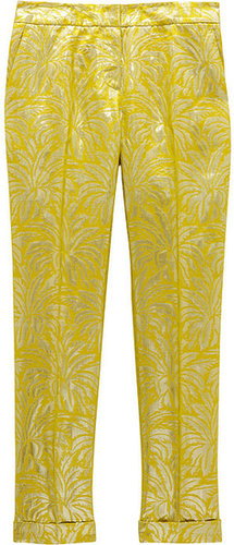 Tory Burch Lola metallic silk-blend brocade straight-leg pants