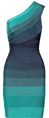 Hervé Léger Ombré one-shoulder bandage dress