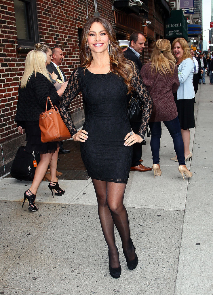 Lace sleeves gave Vergara's all-black NYC look a whimsical touch in September 2011.