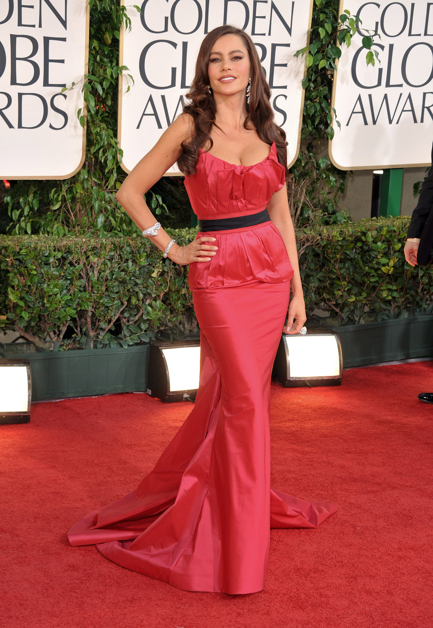At the 2011 Golden Globe Awards, Sofia showed her love for Vera Wang donning yet another one of her glamorous creations. For this turn on the red carpet, Vergara chose a blazing strapless gown with back lace-up detail and a black tie belt to showcase her enviable curves.