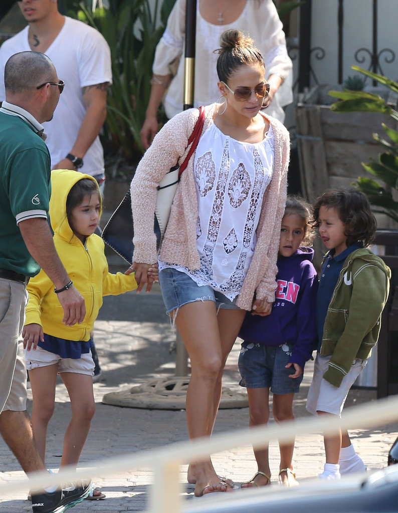 Jennifer Lopez brought her kids to the beach in Malibu, CA, on Friday.