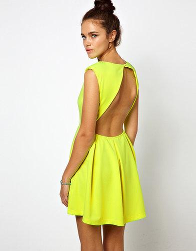 Glamorous Neon Skater Dress with Open Back